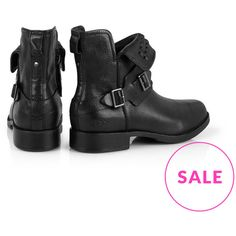 Ugg Australia Cybele Studded Biker Ankle Boot (€100) ❤ liked on Polyvore featuring shoes, boots, ankle booties, leather booties, engineer boots, ankle boots, buckle boots and zip up boots