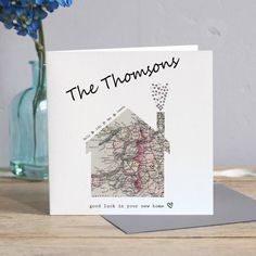 New Home Card - Congratulations on your new home card - Home sweet home card - Moving card - Housewarming card - New house map card New Home Cards, House Of Cards, New Address Cards, Envelope Maker, Housewarming Card, House Map, Cricut Cards, Making Ideas, Card Making Inspiration