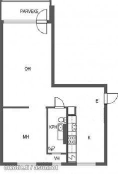 2 rooms + kitchen + parvekkeella (52m2) / Läpitalon kaksio erillisellä keittiöllä ja parvekkeella (52m2) #kaksio #pohjapiirrustus #floorplan Floor Plans, Floor Plan Drawing, House Floor Plans