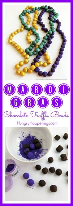 What is Mardi Gras more known for than the colorful beads! Get creative and make these Mardi Gras Chocolate Truffle Beads, you can't go wrong with this delicious dessert and it's a simple recipe if you don't have much time on your hands! Mardi Gras Food, Mardi Gras Beads, Mardi Gras Party, Homemade Desserts, Delicious Desserts, Yummy Treats, What Is Mardi Gras, Chocolate Truffles, Chocolate Food