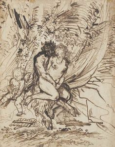 Pietro Testa (Lucca 1611-1650 Rome) | Pan embracing Venus watched by Cupid | 17th Century, Drawings & Watercolors | Christie's