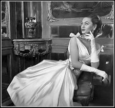Ghislaine in a beautiful white satin evening dress by Lucille Manguin, jewelry by Boucheron, photo by Pottier, 1956 | by skorver1