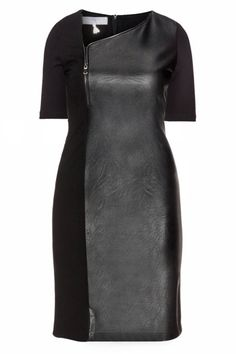 Plus size leather dress can be worn at any occasions, whether if you want to go any casual or formal. Leather dress always makes you look sexy and elegant no matter what you're skinny or curvy. Dress Clothes For Women, Dresses For Work, Curvy Fashion, Plus Size Fashion, High Fashion, Womens Fashion, Plus Size Dresses, Plus Size Outfits, Plus Size Clothing Sale