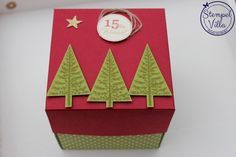 15 Minuten Weihnachten als Explosionsbox, Stampin' Up! Xmas, Christmas Ornaments, Diy Box, Advent Calendar, Stampin Up, Gift Wrapping, Easter, Holiday Decor, Prints