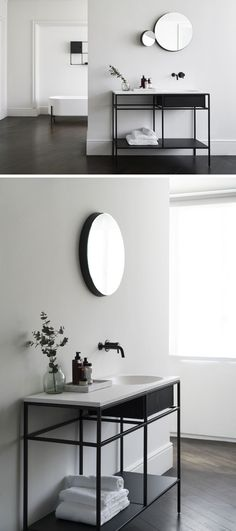 Norm Architects have designed a collection of modular minimalist bathroom consoles that feature black graphic frames, marble and wood.