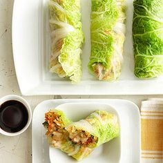20 Healthy Cabbage Recipes (napa cabbage spring rolls recipe)- leave out the rice. Fresh Vegetables, Fruits And Veggies, Chou Napa, Cocina Light, Asian Recipes, Healthy Recipes, Farmers Market Recipes, Cabbage Rolls, Cabbage Wraps