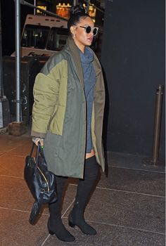 Rihanna wearing an Isabel Marant quilted coat and Reformation dress