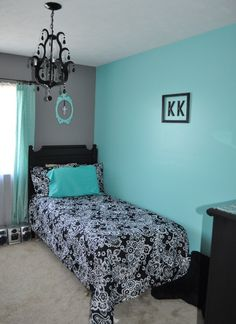 Black White and Aqua Bedroom. Dark Grey and Teal Bedroom. … Black White and Aqua Bedroom. Dark Grey and Teal Bedroom. Room Makeover, Teal Bedroom, Bedroom Design, Girl Room, Room Colors, Small Bedroom, Blue Bedroom, Bedroom Colors, Bedroom