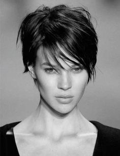 Short hair - love the wispy bangs more texturized trhu bangs and top. love sides.