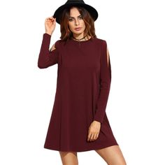 Burgundy Open Shoulder Swing O Neck Long Sleeve Mini Dress for just ₹1303.26.