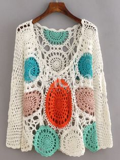 SheIn offers Multicolor Long Sleeve Scoop Neck Crochet Blouse & more to fit your fashionable needs. Crochet Cardigan Pattern, Crochet Blouse, Knit Crochet, Crochet Stitches, Crochet Hooks, Pullover Upcycling, Knitting Patterns, Crochet Patterns, Mode Crochet