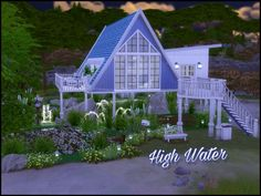 High Water is a 2 bedroom 1 bathroom cottage sitting over 3 working ponds (2 common 1 rare) and large pool.  Found in TSR Category 'Sims 4 Residential Lots'