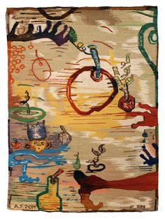 """Andrew Saftel: My Fruit 2014  Tapestry. hand-dyed wool 69"""" by 52"""". Woven by a local family of weavers in Michoacan, Mexico."""