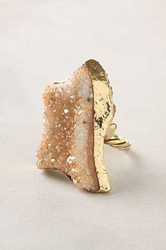 Druzy quartz ring from Anthropologie Jewelry Rings, Jewelry Accessories, Jewelry Design, Druzy Jewelry, Jewelry Box, Fashion Accessories, Fashion Jewelry, Druzy Quartz, Quartz Ring