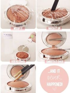 """Photo: Check out this great solution for broken up face powders, eye shadow   and blush. """"1) Cover the compact with the plastic wrap and make sure it adheres tightly to contain everything. 2) With your spatula, crush up the entire shadow, not just the broken pieces. You need to turn the pressed powder back into loose powder. 3) Remove the wrap and add at least 10 droppers full of alcohol. You can add a few droppers full at a time to see how much you need. 4) Now you'll feel the powder has…"""