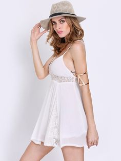 White Spaghetti Strap Backless With Lace Dress