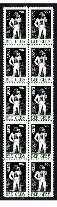 Robin Gibb The Bee Gees Strip Of 10 Mint Stamps from $5.0