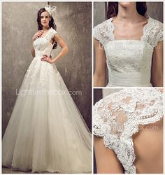 A-line Princess Queen Anne Sweep/Brush Train Tulle And Lace Wedding Dress (632813) - USD $ 249.99