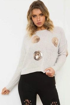 Print Long Sleeves Hollow Out SequinsScoop Regular Sweater