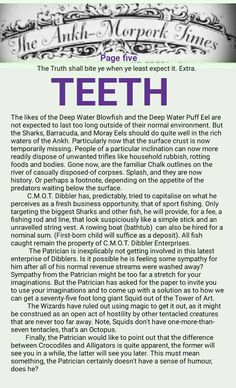 The Ankh-Morpork Times. The Truth shall bite ye when ye least expect it. Extra. TEETH. page five. by David Green 6 Jan 2016