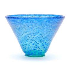 """Botterweg Auctions Amsterdam > Glazen """" Serica """" vaas No.24 met gecraqueleerde bovenzijde en met blauwe glaspoeders, ontwerp A.D.Copier 1930-'31, uitvoering Glasfabriek Leerdam"""