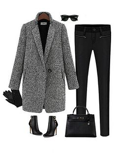 Women Houndstooth Tweed Wool Long Sleeve Long Coat Size S-M-L-XL From 59,= for Euro 27,60