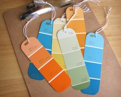 Pin for Later: 221 Upcycling Ideas That Will Blow Your Mind Paint Chip Bookmarks You'll never misplace a page with this eye-catching paint chip bookmark.  Source: How About Orange
