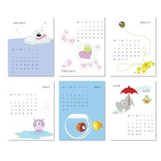 Printable Calendar 2014 - cute and colorful animal illustrations