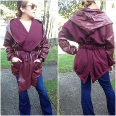 Burgundy coat 70s inspired Please DO NOT buy this listing. Comment with size and I will create a listing for you.                          Faux leather long oversized wrap coat with hoodie. 70s inspired and really adorable           Small bust (38') Medium bust (40') Large bust (42') Jackets & Coats
