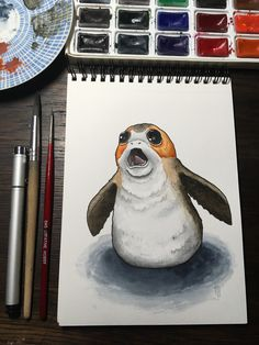 Cute Porg from Star Wars the last Jedi #porg #starwars #thelastjedi #porgs #illustration