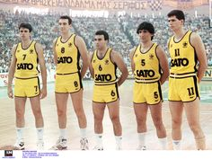 Legendary greek basketball team of ''ARIS'' that had 2 of the best greek players ever,Nikos Galis [no & Panagiotis Giannakis [no Basketball Legends, Basketball Players, Nba Europe, We The Kings, King In The North, Greek History, White Boys, My Childhood Memories, Catio