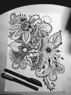 flower drawing design - flower drawing - flower drawing simple - flower drawing tutorials - flower drawing doodles - flower drawing simple easy - flower drawing pencil - flower drawing design - flower drawing step by step Doodle Designs, Designs To Draw, Tattoo Designs, Henna Designs, Doodle Art Drawing, Mandala Drawing, Mandala Doodle, Art Floral, Mandala Nature