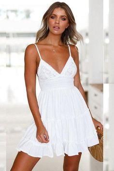 Fashion Women White Lace Dress Women Spring High Waist Sleeveless Backless Dress Elegant Summer Sundress vestidos Brand New and High x Women Dress Size------Length-------------Waist-------------Bust Backless Mini Dress, White Mini Dress, Lace Dress, Ruffle Skirt, White Country Dress, White Lace Sundress, Short Sundress, Lace Maxi, Casual Party Dresses