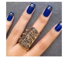 Navy blue with silver lined tip