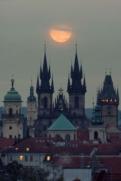 Moonrise, Prague, Czech Republic. Prague is the most colorful beautiful city I have ever seen in my life.