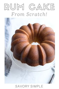 This Rum Cake Recipe is made completely using from scratch ingredients (no mixes!) and is then SOAKED in a dark rum butter syrup that keeps it incredibly moist and bursting with rum flavor. Rum Cake From Scratch, Cake Recipes From Scratch, Caribbean Rum Cake, Rum Butter, Cupcake Cakes, Cupcakes, Bundt Cakes, Naked Cakes, Pound Cake Recipes