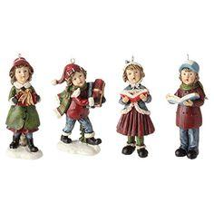 RAZ Imports Christmas Caroling Children Christmas Tree Ornaments Set