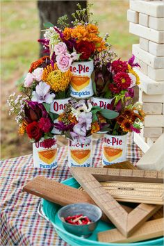 florals in pie filling cans