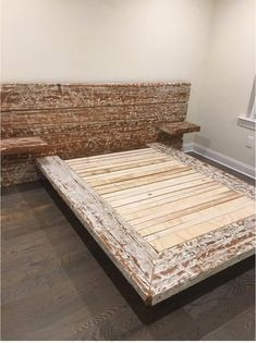 Our handmade Tatu platform bed showcases a whitewashed headboard that is paired with floating shelves on the side. This loft styled modern bed frame is handcrafted to perfection using reclaimed solid Reclaimed Wood Bed Frame, Reclaimed Wood Furniture, Pallet Furniture, Outdoor Furniture, Best Wood For Furniture, Diy Furniture Projects, Custom Bed Frame, Loft Stil, Bed Frame Design