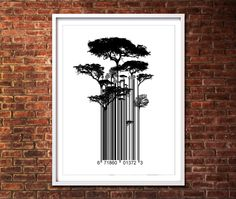 Street Art Banksy Style Barcode Trees Limited Edition Art Print. £11.99, via Etsy.