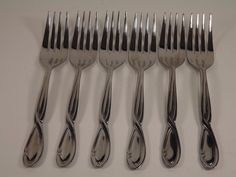 Farberware Trieste Salad Forks Twist Center Stainless Steel Flatware Lot of 6 #Farberware #forks