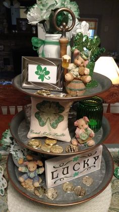St. Paddy's day 3 Tier Stand, Tiered Stand, Galvanized Tiered Tray, St Patrick's Day Decorations, St Paddys Day, Saint Patricks, St Patricks Day, St Pats, Tray Decor