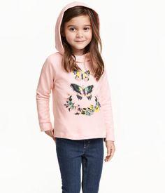 Kapuzenpullover mit Motiv | Hellrosa/Schmetterlinge | Kids | H&M DE