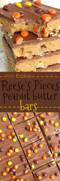 Reese's Pieces Peanut Butter Bars are an easy, no bake treat that is loaded with chocolate and peanut butter. They taste exactly like a Reese's! Add in some mini reese's pieces for the ultimate chocolate & peanut butter dessert. (chewy brownies no butter) Mini Desserts, Easy Desserts, Delicious Desserts, Yummy Food, Baking Desserts, No Bake Summer Desserts, Cinnamon Desserts, Potluck Desserts, Summer Treats