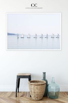 Row of small sailboats in the town of Menton on the Côte d'Azur with the hazy coastline of Italy in the distance. The image is printed on matte fine art cotton rag paper and comes unframed or framed. Coastal Wall Decor, Nautical Wall Art, Wall Art Prints, Fine Art Prints, Framed Prints, Small Sailboats, Blue Art, Large Wall Art, Fine Art Paper