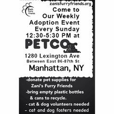 ZANI's Furry Friends invites you to come to an adoption event held every Sunday from 12:30 PM EST until 5:39 PM EST at Petco, 1280 Lexington Avenue in Manhattan, NYC, NY!!!