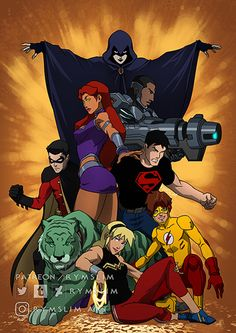 New Teen Titans. by rymslm on DeviantArt Teen Titans Go, The New Teen Titans, Arte Dc Comics, Dc Comics Superheroes, Marvel Vs, Marvel Comics, Superboy Young Justice, New Titan, Robin Dc