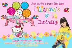 Hello Kitty Balloons Custom Photo Birthday by BQExpress on Etsy, $10.00 Hello Kitty Invitations, Kitty Party, Custom Photo, Houston, Balloons, Happy Birthday, Cakes, Handmade Gifts, Etsy