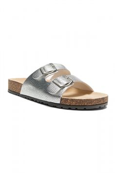 bece3c1d4 HerStyle SL-16110112 Double Buckled Cork Foot bed Sandal (Silver)
