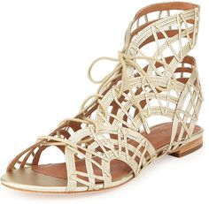 6/8/15 Joie Renee Lace-Up Gladiator Sandal, White Gold